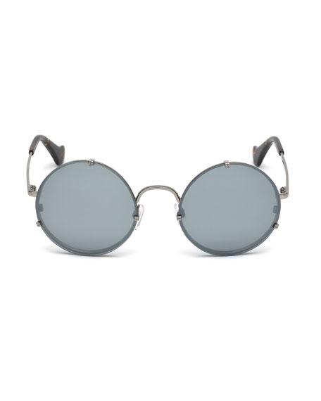 Round Monochromatic Metal Sunglasses, Light Ruthenium/Havana