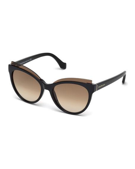 Balenciaga Monochromatic Acetate Cat-Eye Sunglasses, Brown Havana