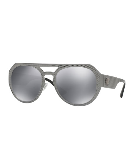 Versace Embossed Metal Mirrored Aviator Sunglasses, Black