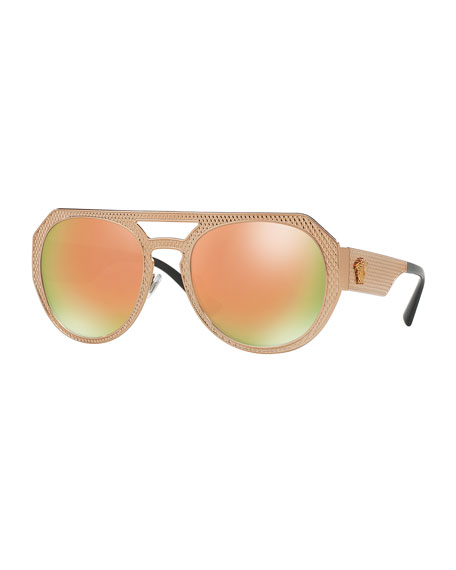 Versace Embossed Metal Mirrored Iridescent Aviator Sunglasses,