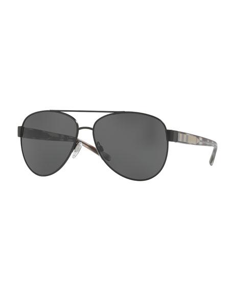 Burberry Monochromatic Aviator Sunglasses, Black
