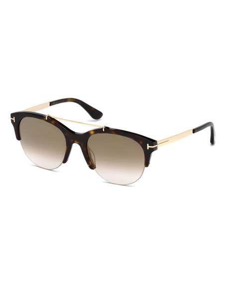 TOM FORD Adrenne Gradient Semi-Rimless Brow-Bar Sunglasses, Brown