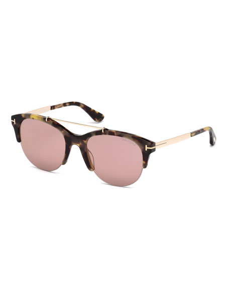 Adrenne Mirrored Semi-Rimless Brow-Bar Sunglasses, Brown