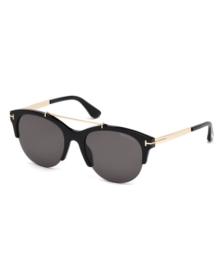 TOM FORD Adrenne Monochromatic Semi-Rimless Brow-Bar Sunglasses,