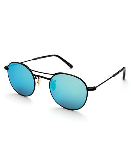 KREWE Orleans Mirrored Metal Universal-Fit Sunglasses, Black