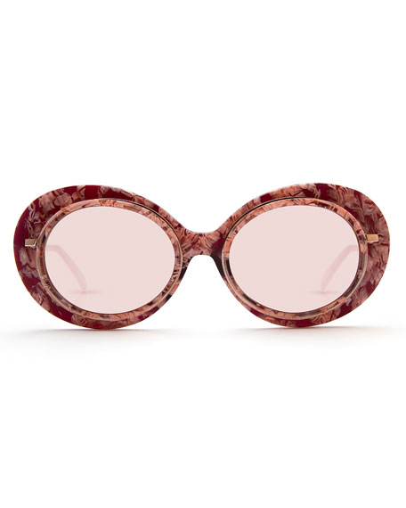 Iris Mirrored Oval Sunglasses, Pink/Rose Gold