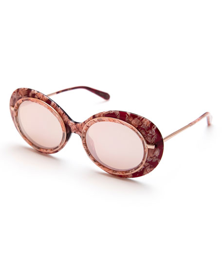 KREWE Iris Mirrored Oval Sunglasses, Pink/Rose Gold