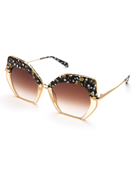KREWE Octavia Geometric Two-Tone Sunglasses, Pink