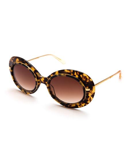 KREWE Iris Gradient Oval Sunglasses, Brown