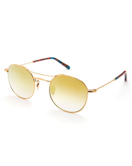 KREWE Orleans Mirrored Metal Universal-Fit Sunglasses, Gold