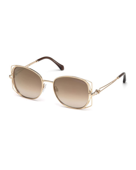 Square Metal Open-Inset Sunglasses, Rose Gold