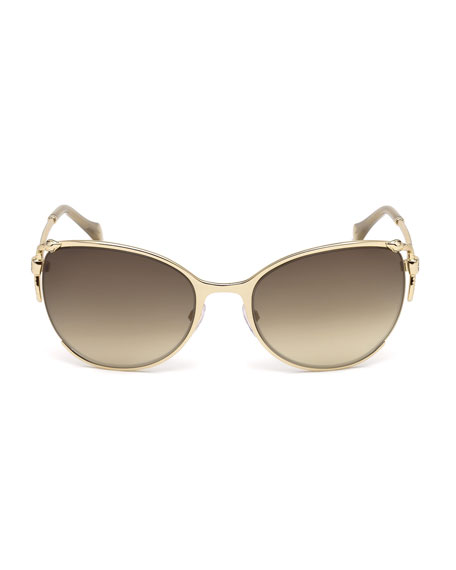 Semi-Rimless Square Snake Sunglasses, Rose Gold