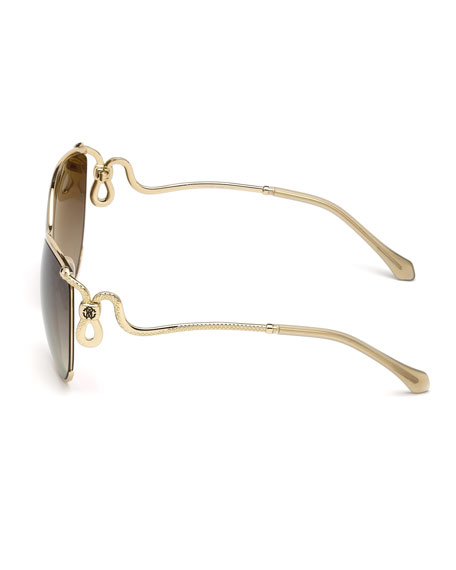 Semi-Rimless Square Snake Sunglasses, Rose Gold