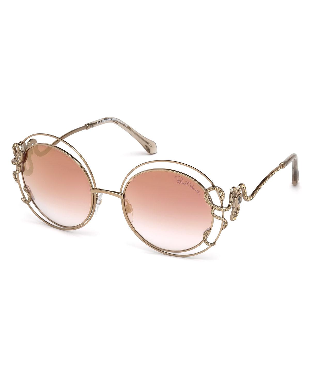 26e2e692b01 Roberto Cavalli Round Open-Inset Snake Sunglasses