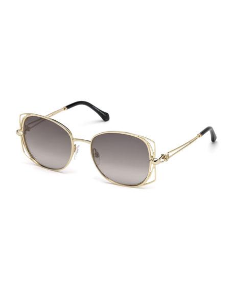 Roberto Cavalli Square Metal Open-Inset Sunglasses, Gold