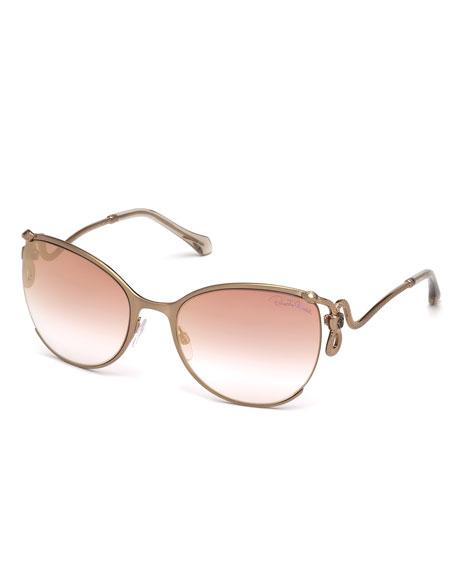 Roberto Cavalli Semi-Rimless Square Snake Sunglasses, Rose