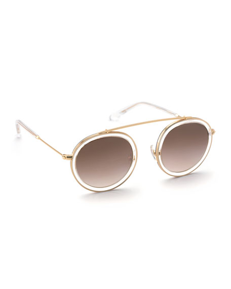 KREWE Conti Gradient Aviator Sunglasses, Black/White/Gold