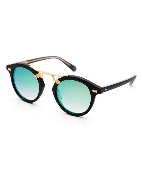 KREWE STL II Round Iridescent Sunglasses, Black