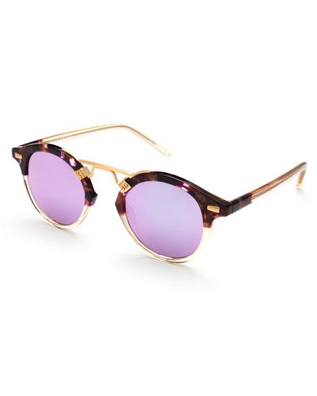 KREWE St. Louis Round Mirrored Sunglasses, Tortoise/Purple/Champagne