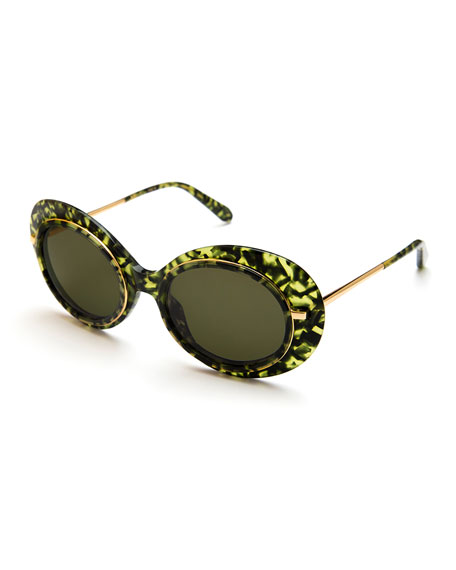 KREWE Iris Monochromatic Oval Sunglasses, Green