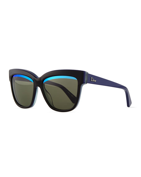 Graphic Square Sunglasses, Black/Blue/Green