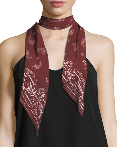 Guns N Rockins Super Skinny Silk Scarf, Red