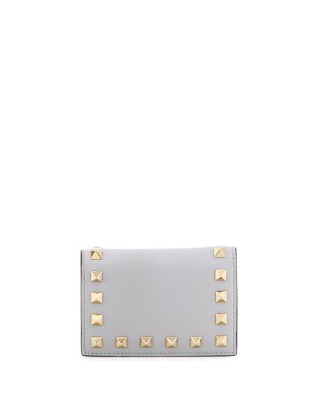 Valentino Rockstud Small Full-Flap Card Case, Gray