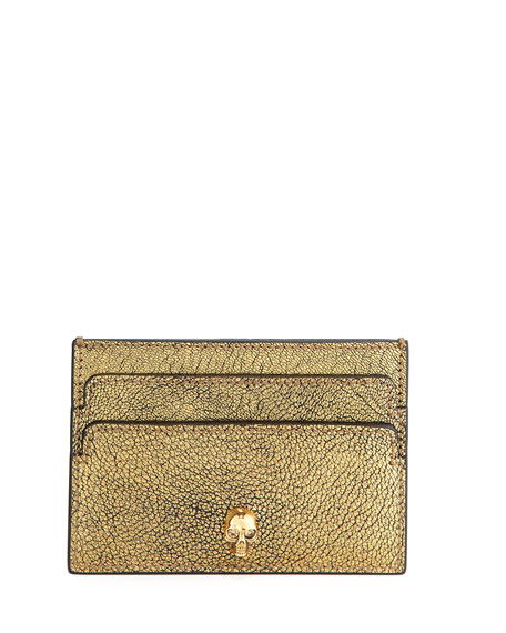 Alexander McQueen Skull Leather Card Case, Gold
