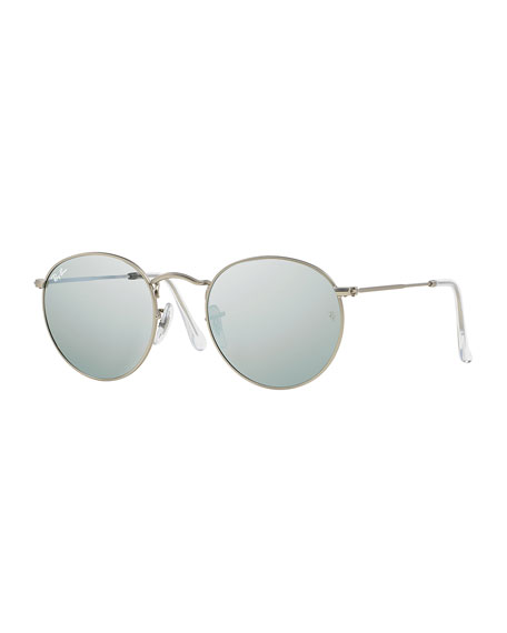 Round Metal-Frame Sunglasses with Silver Mirror Lens