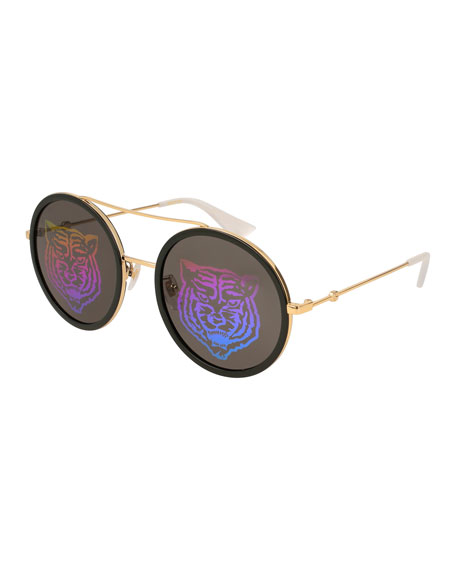 Gucci Angry Cat Metal & Acetate Round Sunglasses