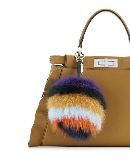 Striped Fur Pompom Charm for Handbag, Multi