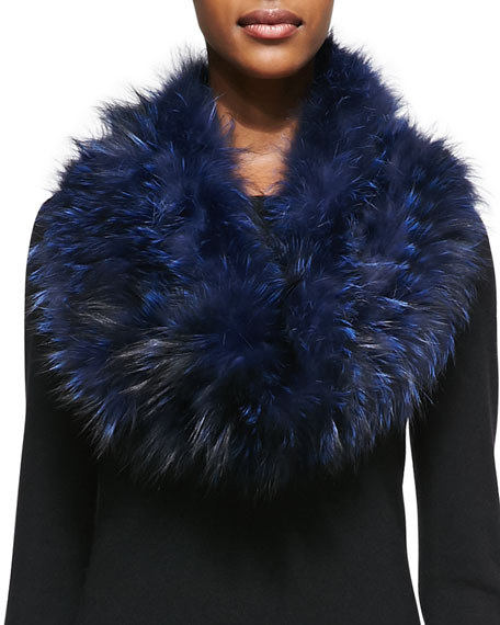 Gorski Layered Fox Fur Cowl Collar, Navy