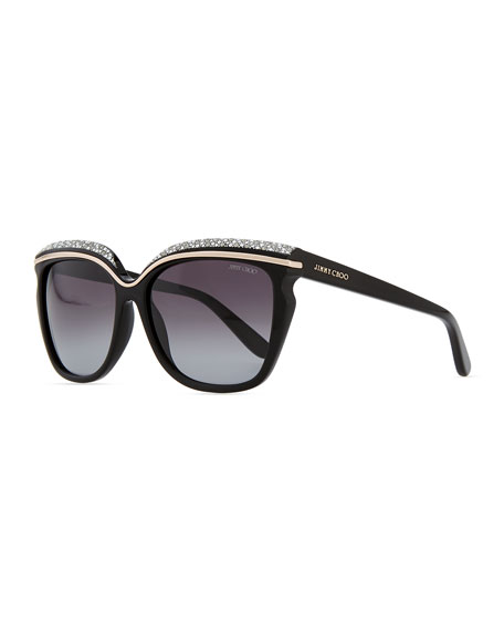 Sophia Embellished Sunglasses, Black