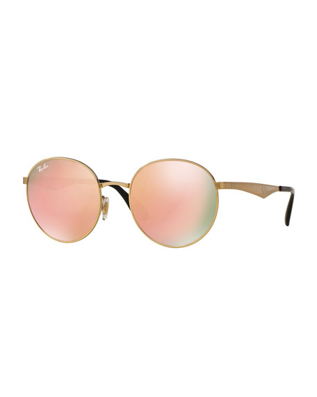 Ray-Ban Round Mirrored Sunglasses, Golden/Pink