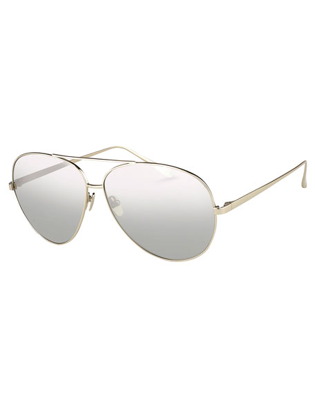 Linda Farrow Mirrored Aviator Sunglasses, White Metal