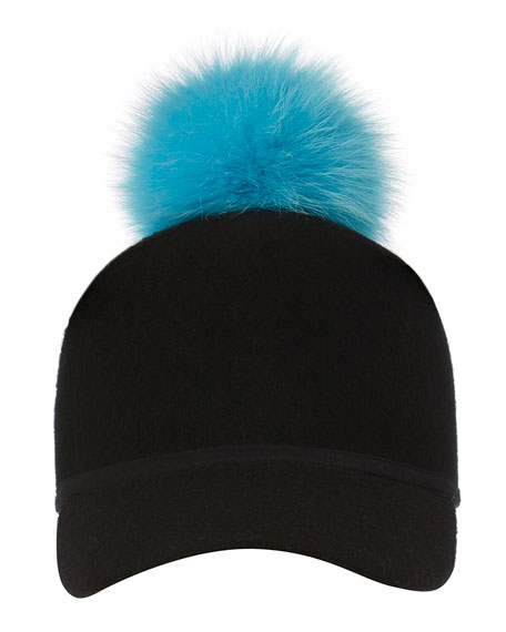 Sass Single-Pom Wool Felt Baseball Cap, Blue/Black