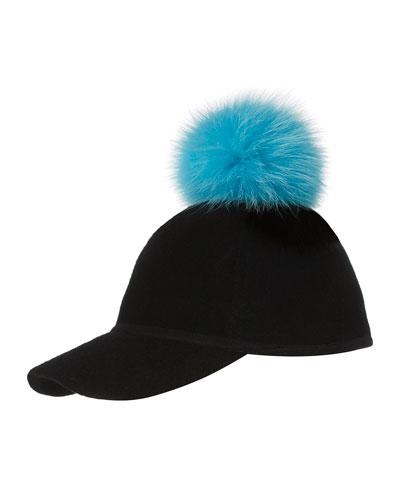 Sass Single-Pom Wool Felt Baseball Cap, Blue/Black