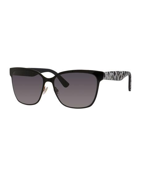 Kiera Mirror Logo-Temple Sunglasses, Black