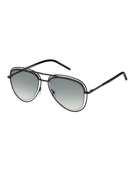 Wire-Rim Aviator Sunglasses