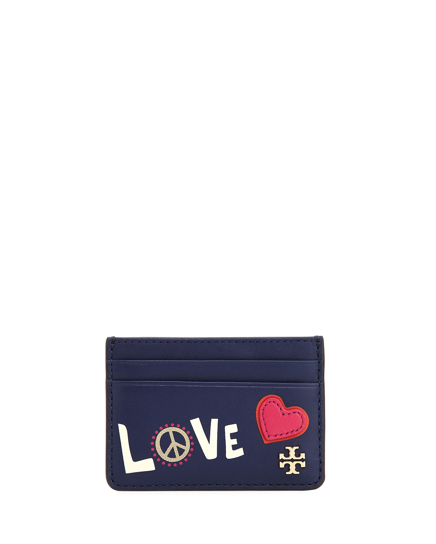 Tory Burch Peace & Love Slim Card Case | Neiman Marcus