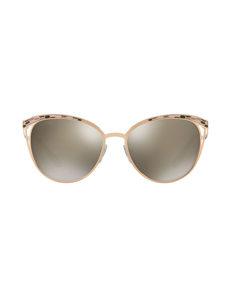 Etched Mirrored Butterfly Sunglasses, Rose Gold