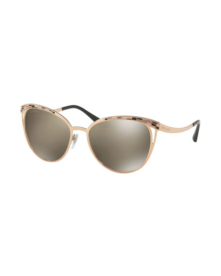 BVLGARI Etched Mirrored Butterfly Sunglasses, Rose Gold