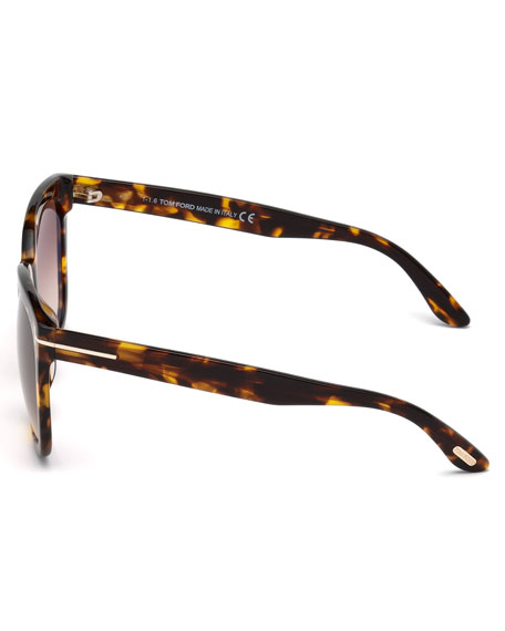 TOM FORD Amarra Square Acetate Sunglasses, Tortoise/Brown, Brown Pattern in Havana/Brown Gradient