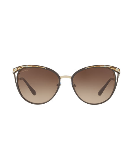 Etched Mirrored Butterfly Sunglasses, Brown/Gold