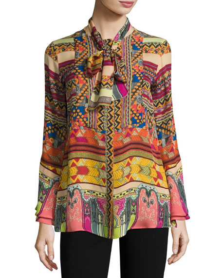 Etro Printed Silk Shirt with Scarf, Multicolor