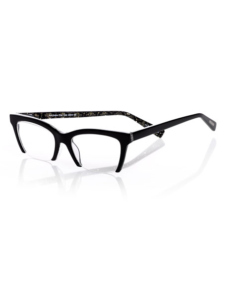 Eyebobs Flat Cat Semi-Rimless Cat-Eye Readers, Black/Gold