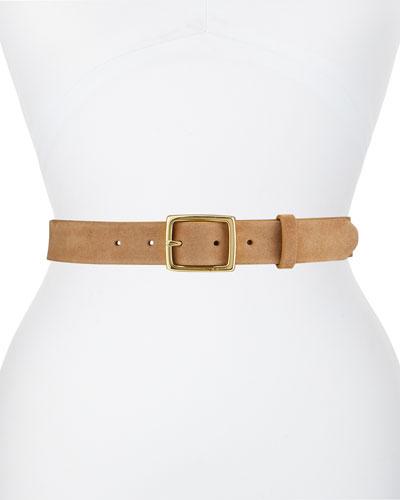 Suede Boyfriend Belt, Camel
