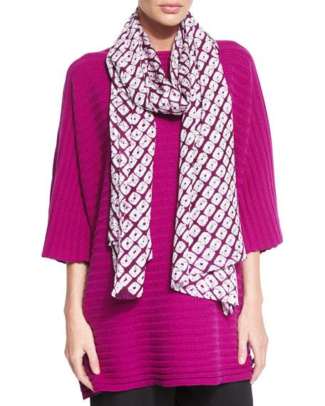 Eskandar Hand-Dyed Shibori Silk Scarf, Purple