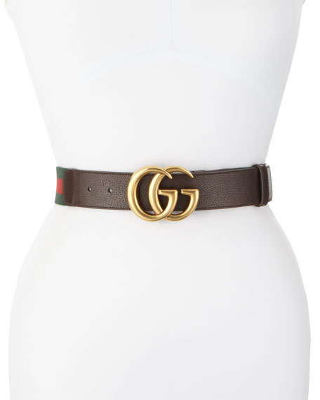 Wide Leather/Web Belt, Cocoa by Gucci