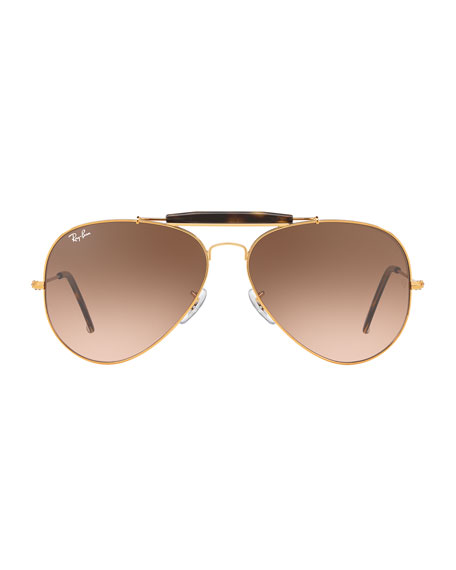 Gradient Metal Aviator Sunglasses